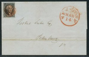#2 10c 1847 XF+ ON COVER NEW YORK TO VIRGINIA WITH PF CERT WLM9401