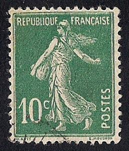 France #163 10C Sower, Green Stamp used VF