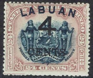 LABUAN 1899 LARGE 4C OVERPRINTED ARMS 24C PERF 13.5 - 14