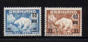 Greenland Sc 39-40 1956 60 ore Polar Bear ovpts stamp set used