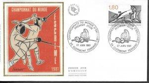 FR319  France 1981  fencing championships      SILK FDC $4.00
