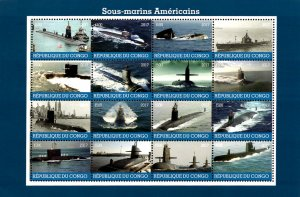 Congo 2017 American Submarines 16v Mint Full Sheet. (L-25)