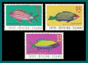 Cocos 1998 Fish Definitives , MNH 327-329,SG335e-SG343a
