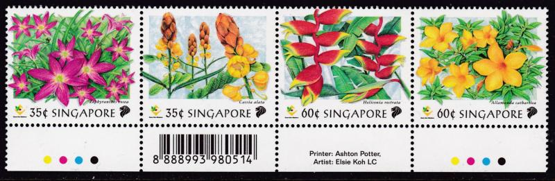 Singapore 1998 Flowers set as issued in Strips of Four complete VF/NH(**)