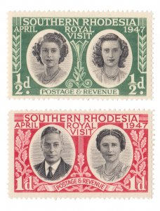 STAMP FROM SOUTHERN RHODESIA 1947. SCOTT # 65 - 66. MINT