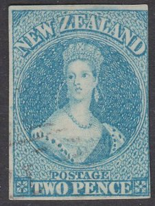 NEW ZEALAND 1857-63 2d no watermark SG9 lightly cancelled cat £180...........797