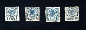 Danish West Indies #J1-J4,  F/VF,  Used,   CV $165.00 ....1630050
