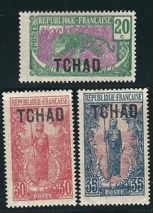 Ubangi Chari Chad 3 Dif MVLH F/VF 1922 SCV $8.35