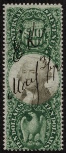 rs0021 U.S. Revenue Scott R149 $10 green and black, manuscript cancel,SCV = $400