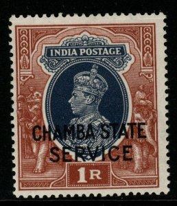 INDIA-CHAMBA SGO68 1940 1r GREY & RED-BROWN MNH