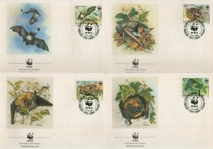 1989 BULGARIA -  WORLD WILDLIFE FUND - BATS - 4 X FIRST DAY COVERS