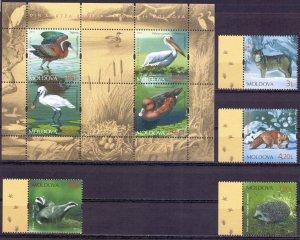Moldova. 2011. 759-62, bl56. Fauna of Moldova. MNH.