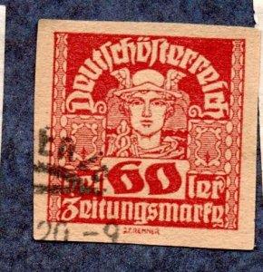 Austria Scott #P42 60k Mercury, Newspaper Stamp (1921) Used
