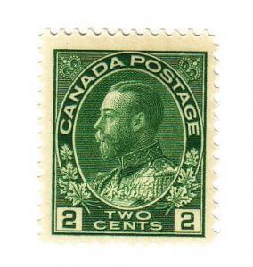 Canada Sc 107 1922 2 c green G V Admiral stamp mint