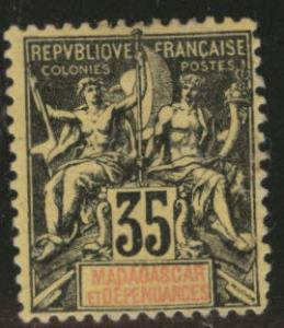 Madagascar Malagasy Scott 41  MH* 35c blk on yellow  CV $...