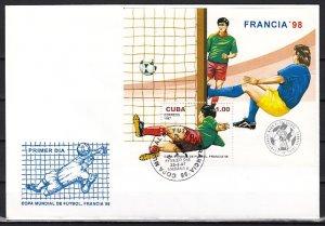Cuba, Scott cat. 3820. World Cup Soccer s/sheet. First day cover. ^