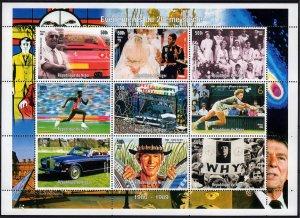 Niger 1998 DIANA-FERRARI-JOHN LENNON-ROLLS ROYCE-EVENTS 80-89 Sheetlet (9) MNH