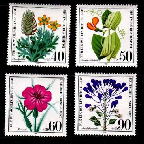 Germany Sc B577-80 1980 Wildflowers stamp set  mint NH