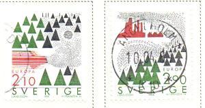 Sweden Sc  1605-6 1986 Europa stamp set used