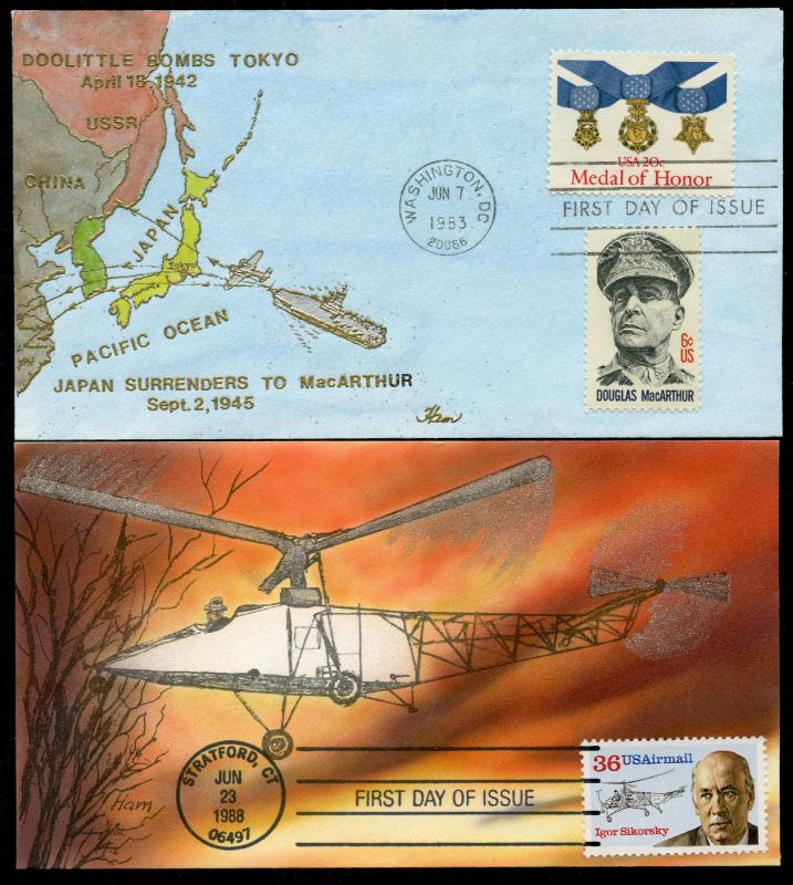 (4) DIFFERENT HAND PAINTED FDC CACHET BY HAM BQ3559
