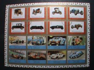 AJMAN STAMP -WORLD FAMOUS CLASSIC AND RACES CAR- COMPLETE LARGE CTO SHEET VF