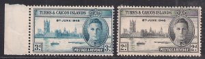 Turks & Caicos 1946 KGV1 Set of Victory Umm SG 206-207 ( J722 )