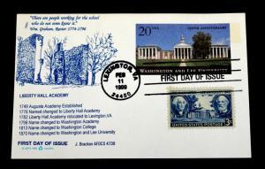 US Postal Card SC #UX302 Washington Lee University J. Bracken Cachet AFDCS 4739