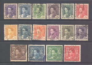 Middle East Scott 61/76 - SG172/187, 1934 King Faisal Set to 200f used