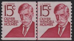 Scott 1305E 15c Oliver Wendell Holmes Shiny Gum Line Pair