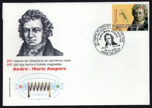 379 - NORTH MACEDONIA 2020 - Magnetic Field Theory by André-Marie Ampère - FDC
