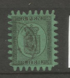 FINLAND  1866-67  8p  BLACK/GREEN  ARMS FU SG 46 Sc 5