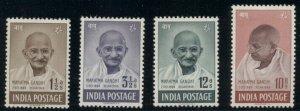 INDIA #203-6, Complete Gandhi set, og, LH, VF, Scott $407.50