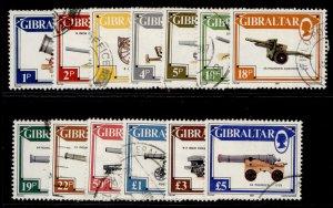 GIBRALTAR QEII SG569-581, 1987 guns set, FINE USED. Cat £35.