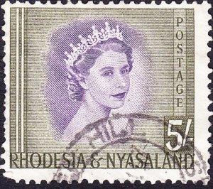 RHODESIA & NYASALAND 1954 EQII 5/- Violet & Olive-Green SG13 Used