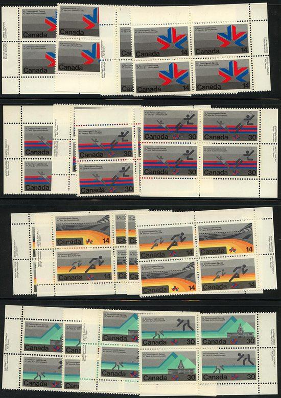 Canada USC #757-762 Mint 16 Diff. Imprint Blocks as MS of Each Value - VF-NH
