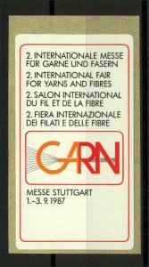 Germany 1987 Stuttgart Yarns and Fibres International Exhibition Label