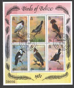 Belize. 1980. Small sheet 487-92. Birds fauna. USED.