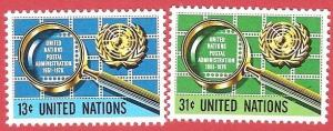 United Nations United Nations Postal Administration, 25th anniv Cat#278-279  MNH