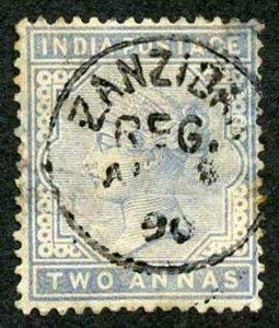 Zanzibar SGZ85 1882-90 India 2a Blue 90 with CDS (type Z6) Used