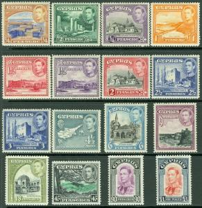 CYPRUS : 1938-51. Stanley Gibbons #151-63 VF, Mint Original Gum H Cat £250 as NH