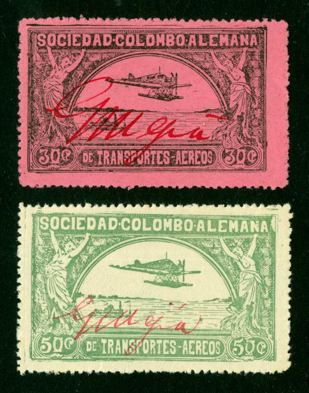 COLOMBIA 1920 Airmail  SCADTA CONSULAR (USA) set MS MEJIA Sc# CLEU1-2 mint MNH