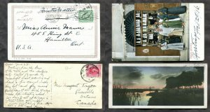 d297 - EGYPT Lot of (2) Postcards to CANADA Hamilton & Priceville. 1906 & 1926
