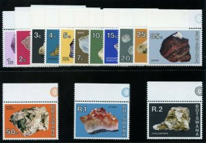 Botswana 1974 QEII Minerals set complete superb MNH. SG 322-335. Sc 322-335.