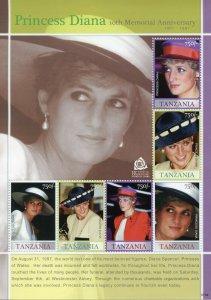 Tanzania Royalty Stamps 2007 MNH Princess Diana 10th Memorial 6v M/S