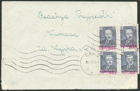 POLAND 1951 cover - GROZY oveprints........................................39892