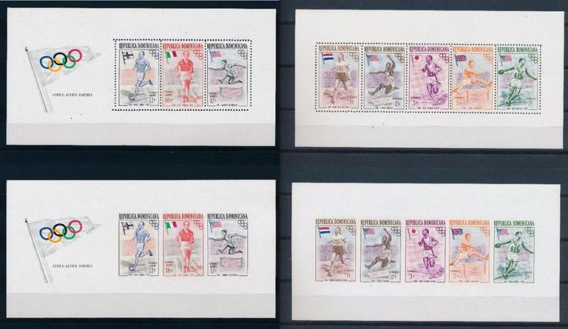 Dominican Republic 1957 OLYMPIC WINNERS PERF AND IMPERF S...
