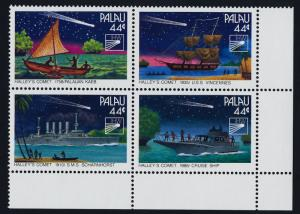 Palau 98a BR Block MNH Halleys' Comet, Ship, Space