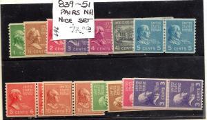 839-851 Mint,OG,NH... Pairs... SCV $72.00