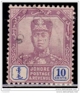 Malaya Johore, 1921-40, Sultan Ibrahim, 10c, Scott# 109, used