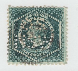 New South Wales SG 233da used. 1885 5p blue green Diadem, NSW / OS perfin, wmkd